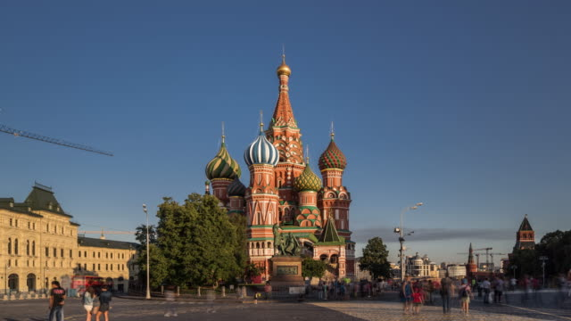 time lapse - st basil's cathedral and red square - st. basil's cathedral stock videos and b-roll footage