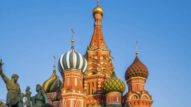 time lapse - st basil's cathedral (zoom out) - st. basil's cathedral stock videos and b-roll footage