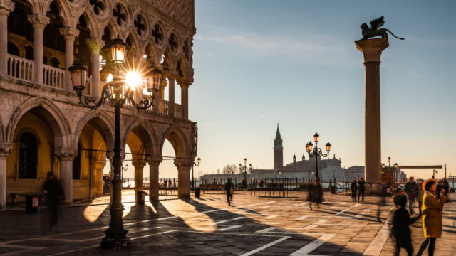 time lapse: st. mark's square in venice at sunrise - palace stock videos & royalty-free footage