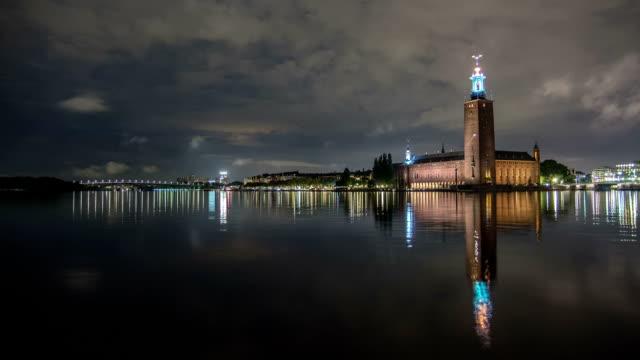 HD temps qui passe: Hôtel de ville de Stockholm à la Vue en plan incliné