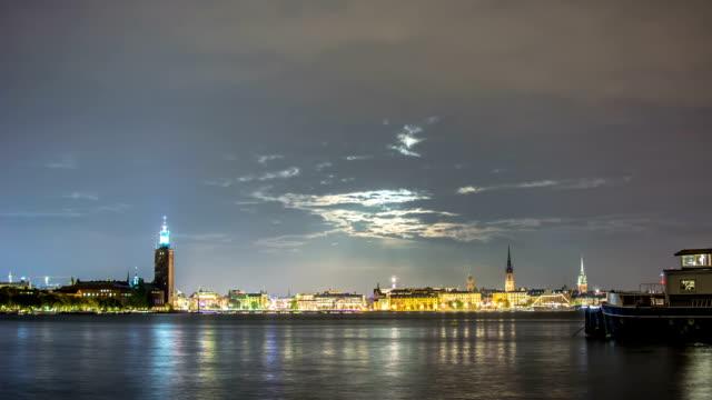 hd time lapse: stockholm city moon - stockholm bildbanksvideor och videomaterial från bakom kulisserna