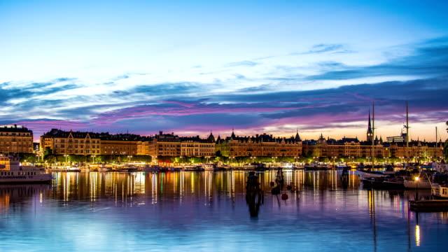 HD Time Lapse: Stockholm City Quay at Dusk