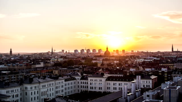 HD Time Lapse: Stockholm Cityscape Sunset