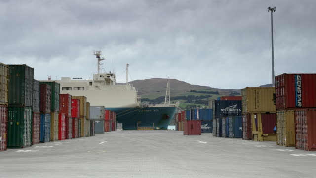 vídeos y material grabado en eventos de stock de time lapse straddle carriers moving containers around container park at port / moored cargo container along harbour / port of lyttelton, new zealand - pórtico automotor