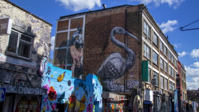 time lapse street art by roa and martin ron - mural stock videos & royalty-free footage