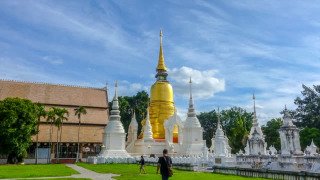time lapse : suan dok temple in chiang mai thailand - chiang mai city stock videos and b-roll footage