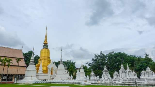 Time lapse : Suan Dok Temple in Chiang Mai Thailand (Zoom shot)