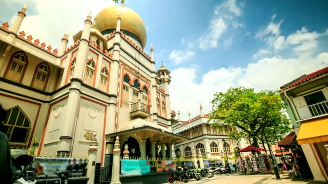 time lapse : sultan mosque in singapore - sultan mosque singapore stock videos and b-roll footage