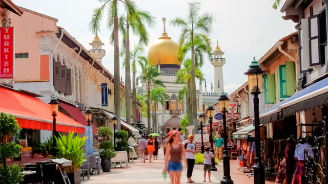 time lapse : sultan mosque in singapore - singapore stock videos & royalty-free footage