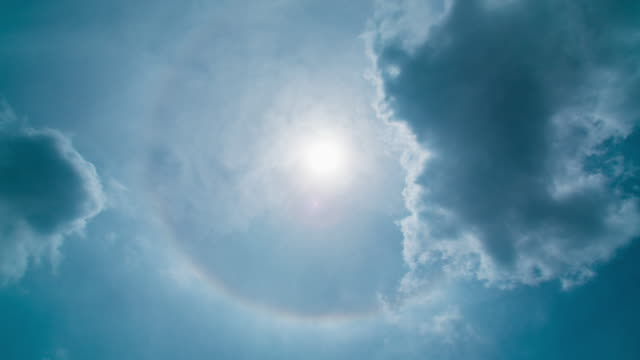 Time Lapse : Sun halo with cloudy sky