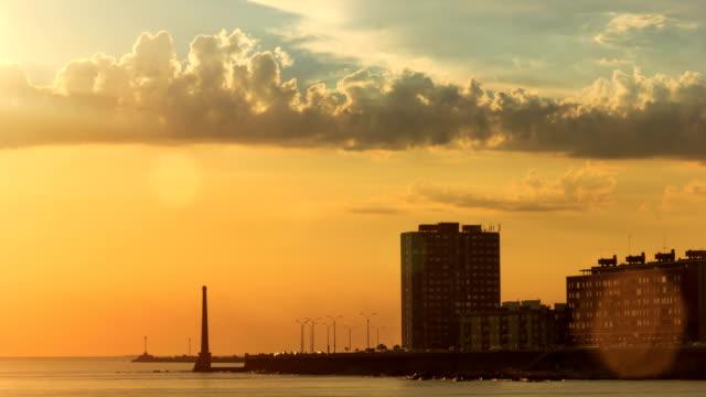 Time lapse sun setting in Montevideo bay, Uruguay