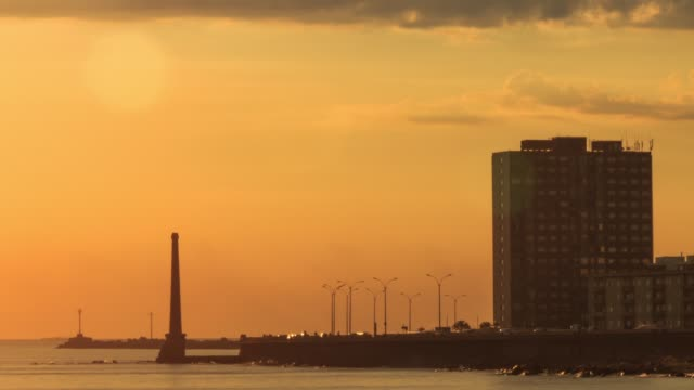 Time lapse sun setting in Montevideo bay, Uruguay