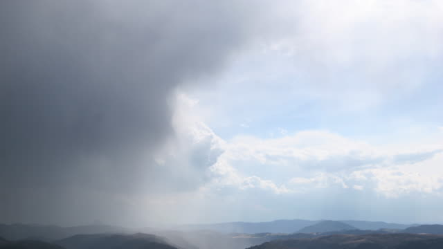 Time lapse - sunny clouds after storm and rain
