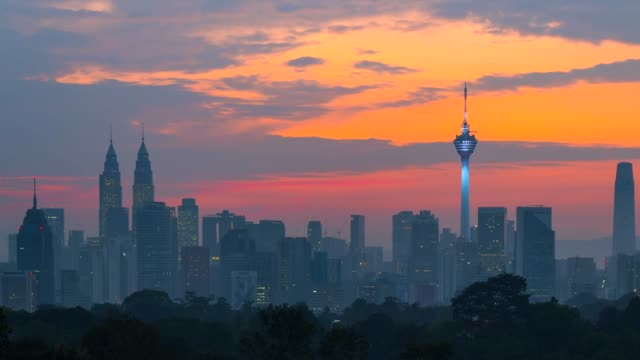 4k time lapse sunrise, night to day scene of kuala lumpur skyline with petronas twin tower and kl tower - kuala lumpur stock videos & royalty-free footage