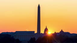 4K UHD Time Lapse : Sunrise over Lincoln Memorial, Washington Monument, and Capitol Building at Washington DC, United State.