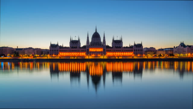 time lapse sunrise scene, night to day of hungarian parliament and danube river at budapest, hungary - hungarian culture stock videos & royalty-free footage