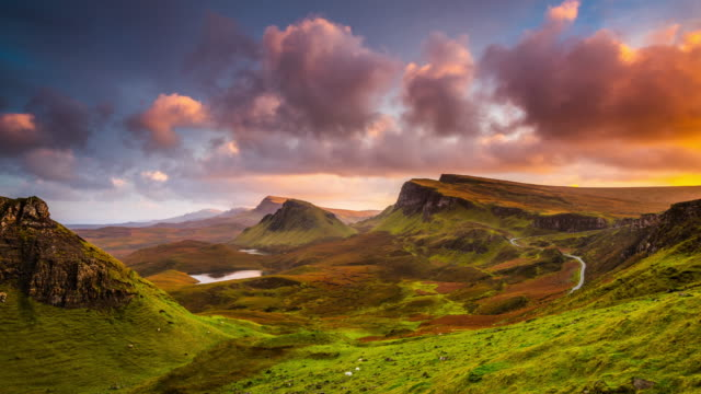 time lapse: sunset at the quiraing on isle of skye in scotland - dramatic landscape stock videos & royalty-free footage