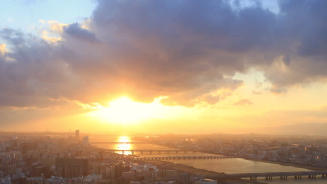 time lapse sunset at umeda sky building, osaka - town stock videos & royalty-free footage