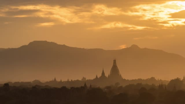 4k time lapse : sunset  bagan temples ,old pagoda in bagan myanmar - myanmar stock videos and b-roll footage