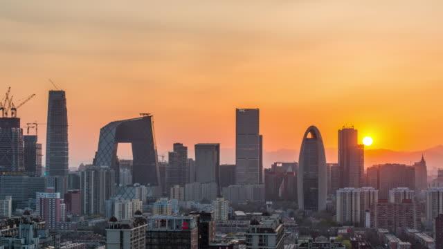 Time Lapse- Sunset of Beijing Urban Skyline (Zoom)