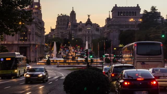 MADRID - CIRCA 2013: Time lapse sunset of Calle de Alcalá, Alcala Street with traffics