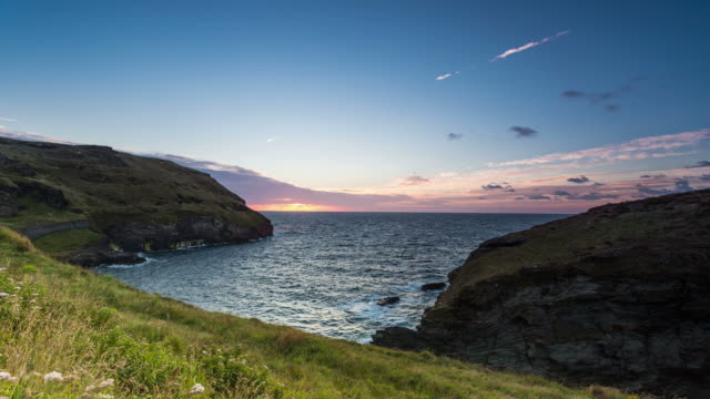 CORNWALL - CIRCA 2013: Time lapse Sunset of Cornwall coast during a day of summer