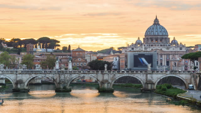 time lapse: sunset of st. peter's cathedral in rome, italy - rome italy stock videos and b-roll footage