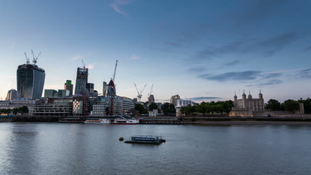 stockvideo's en b-roll-footage met london - circa 2013: time lapse sunset of the new skyline in london - 2013