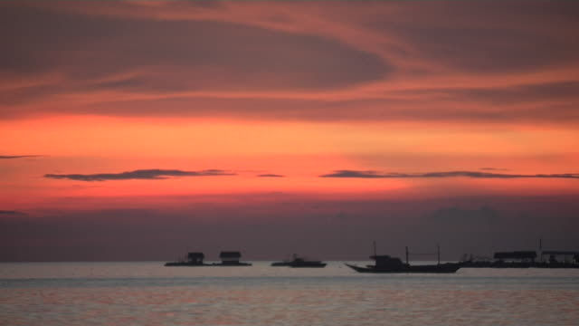 Time Lapse Sunset Sea Boats Boracay Aklan Philippines