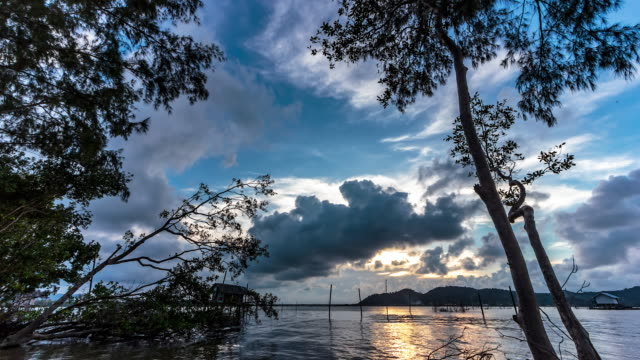 4k time lapse sunset - songkhla province stock videos and b-roll footage