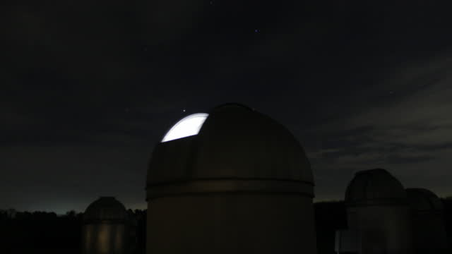 time lapse telescopes moving at bayfordbury observatory, uk - optical equipment stock videos & royalty-free footage