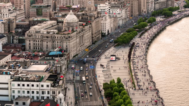 Time Lapse The busy traffic in the bund,shanghai