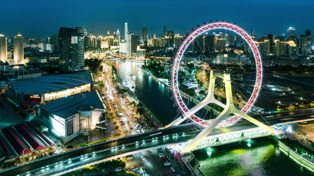 Time Lapse- The Cityscape of Tianjin Eye and Tianjin Urban Skyline at night (WS MS Panning)