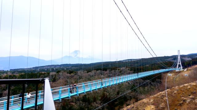 time lapse: the hakone-seiroku mishima grand suspension bridge that called sky walk japan. - shizuoka prefecture stock videos and b-roll footage