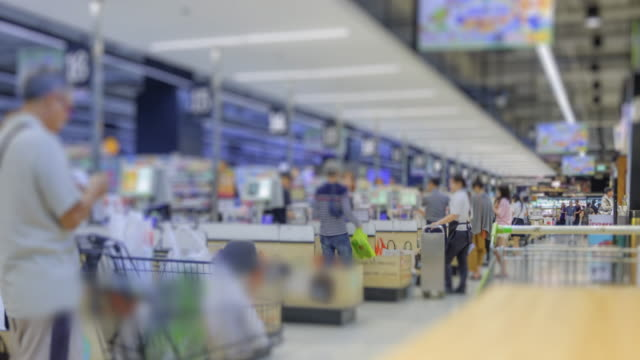 4k time lapse the lifestyles of crowd at shopping mall - checkout stock videos and b-roll footage