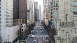 4K UHD Time Lapse : The Magnificent road on North Michigan Avenue in downtown Chicago, United States