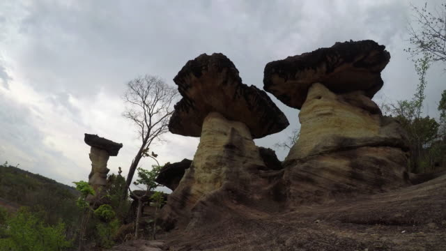 Time Lapse: The Natural Stone as Mushrooms in Pha Taem National Park, Ubon Ratchathani Province, Thailand