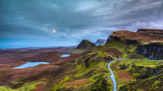 time lapse: the quiraing on isle of skye in scotland - mountain road stock videos & royalty-free footage