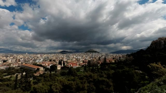 the view from the acropolis hill to the ancient agora, as shot on march 29, 2020 in athens, greece. - athens greece stock videos & royalty-free footage