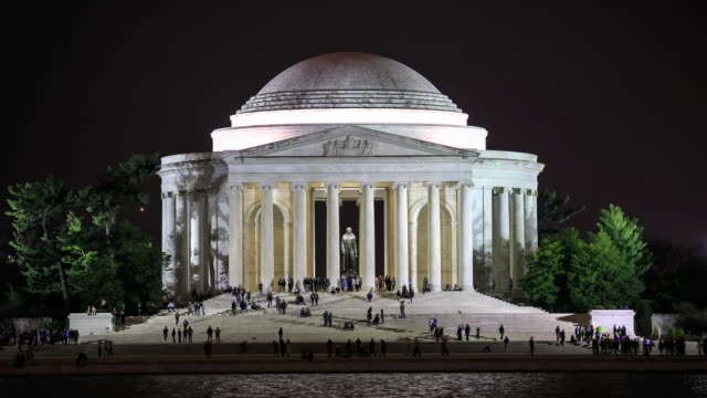 vidéos et rushes de time lapse 4 k: thomas jefferson memorial - jefferson memorial