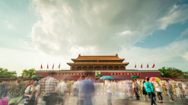 Time Lapse - Himmelska fridens Gate, Beijing, Kina (WS LA LR Pan)