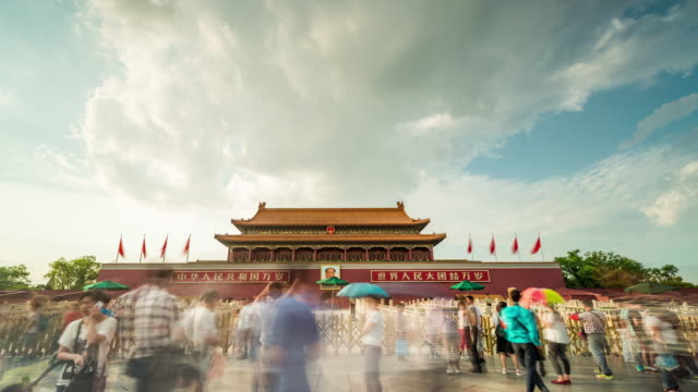 time lapse- tiananmen gate, beijing, china (ws la rl pan) - tiananmen gate of heavenly peace stock videos & royalty-free footage