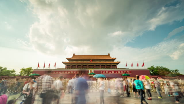 time lapse- tiananmen gate (ws la zoom in) - tiananmen square stock videos and b-roll footage