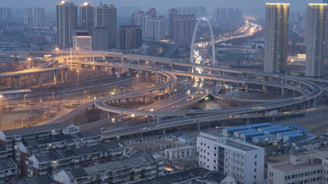 time lapse- tianjin overpass - tianjin stock videos and b-roll footage