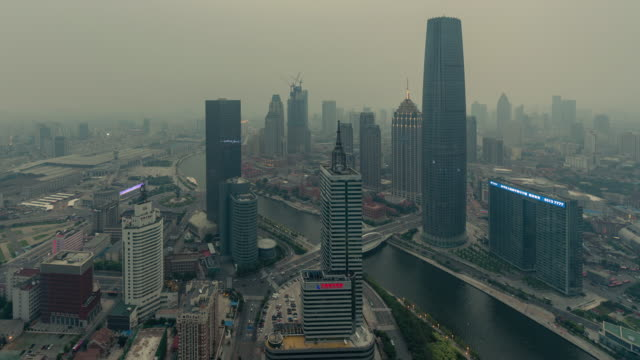 Time Lapse- Tianjin Urban Skyline in air pollution
