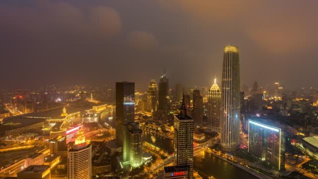 time lapse- tianjin urban skyline - hai river stock videos & royalty-free footage