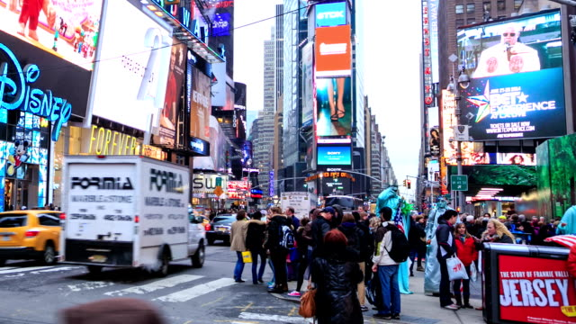 hd time lapse : times square nyc - bus billboard stock videos & royalty-free footage