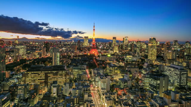 4K Time Lapse :Tokyo city at twilight