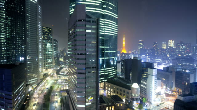time lapse tokyo metropolis skyscrapers business district japan - einschienenbahn stock-videos und b-roll-filmmaterial