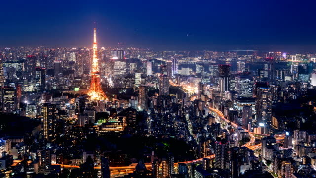 time lapse tokyo tower and cityscape at twilight. - tokyo japan stock videos & royalty-free footage
